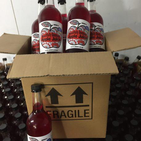 six 750ml bottles of Beautifully Beetroot apple juice