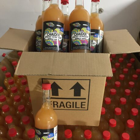 six 750ml bottles of Herby4 Spiced Somerset apple juice. Chaider