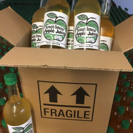 Box of 6 x 750ml Herby4 Seriously Somerset apple juice.